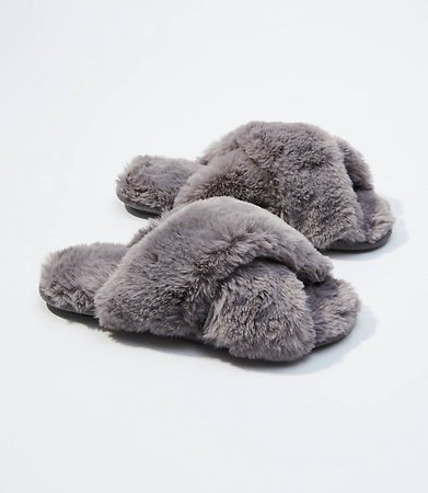FAUX FUR SLIDE SLIPPERS Loft