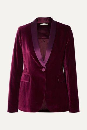 Purple Macey satin-trimmed velvet blazer | Alice + Olivia | NET-A-PORTER