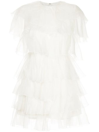 White Giambattista Valli Tiered Mini Dress | Farfetch.com