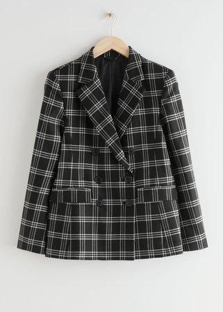 Wool Blend Plaid Blazer - Black Checks - Blazers - & Other Stories