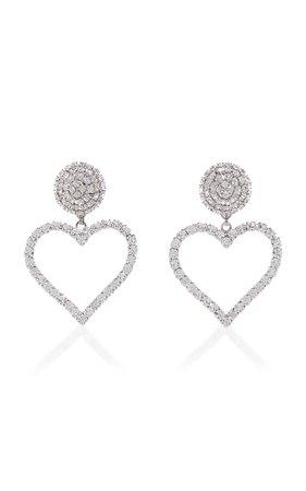 Crystal And Brass Heart Clip Earrings by Alessandra Rich | Moda Operandi