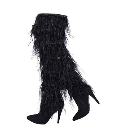 Amazon.com | Stupmary Women Over The Knee High Boots Ostrich Feather Pointed Toe Stilleo High Heeled Thigh High Boots | Over-the-Knee