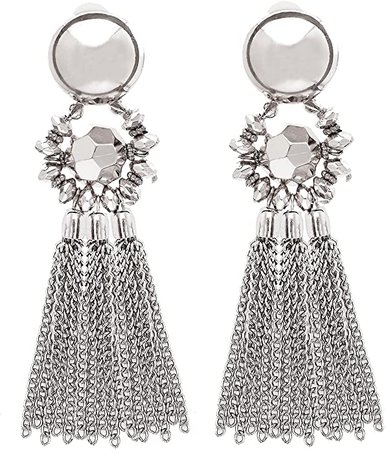 Amazon.com: Bohemian Tassel Chandelier Dangle Earring For Women Clip On Earrings Long Drop Statement Earrings (silver): Jewelry