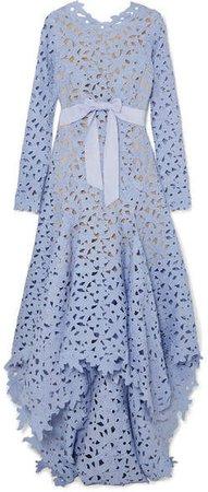 Asymmetric Guipure Lace Gown - Blue