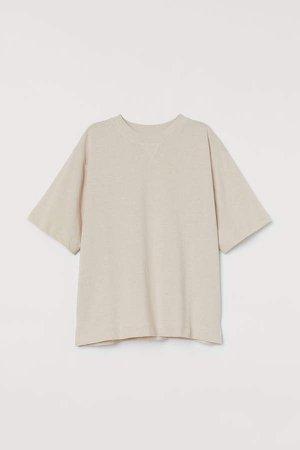 Short-sleeved Sweatshirt - Beige