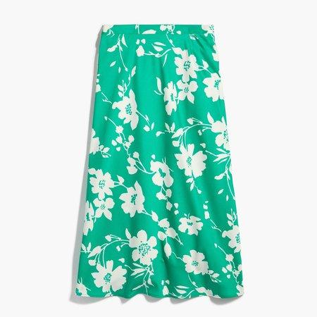 Satin-back crepe A-line midi skirt