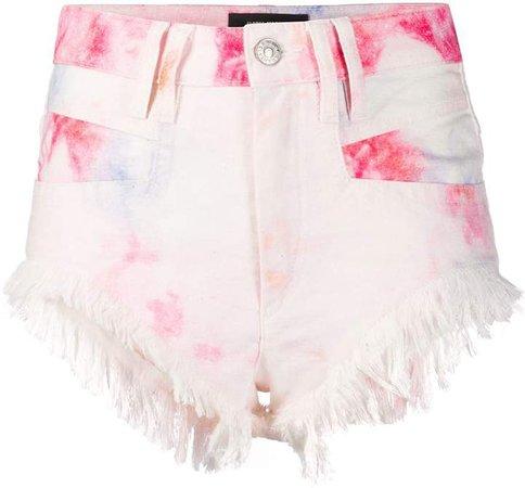 Bleached Fringed Denim Shorts