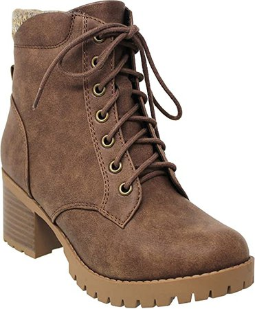 Amazon.com | MVE Shoes Women's Block Heel Lace Up Side Zipper Ankle Boots | Ankle & Bootie