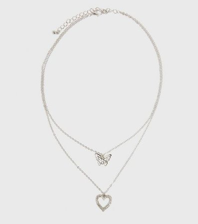 Silver Butterfly and Heart Layered Necklace | New Look
