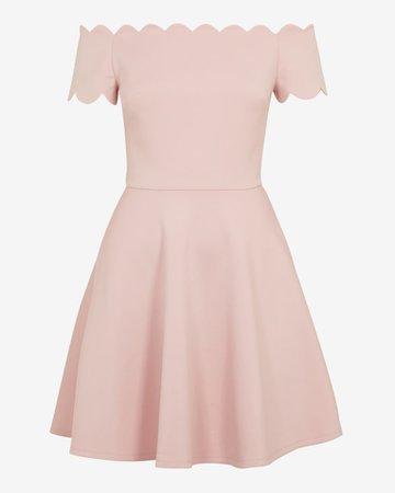 Bardot scallop skater dress - Light Pink | Dresses | Ted Baker UK