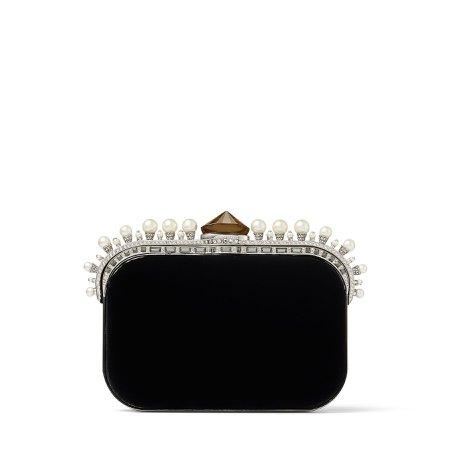 Jimmy Choo, CLOUD Black Velvet Clutch Bag with Pearl Crown
