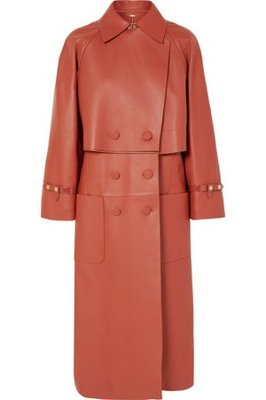 Fendi | Double-breasted leather trench coat | NET-A-PORTER.COM