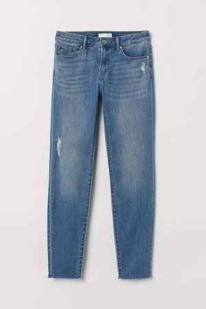 Cropped Twill Pants - Blue