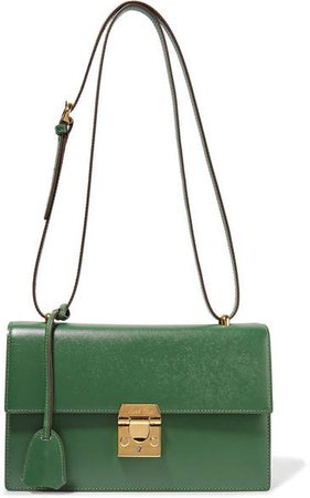 Downtown Textured-leather Shoulder Bag - Dark green