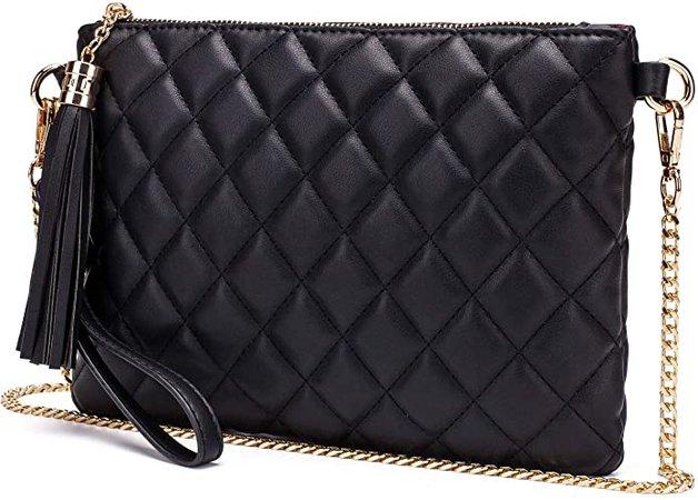 Lola Mae Simple Quilted Crossbody Bag, Lightweight Wristlet Shoulder Purse (Black): Handbags: Amazon.com