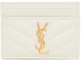 Monogram Quilted Leather Card Holder - Womens - White