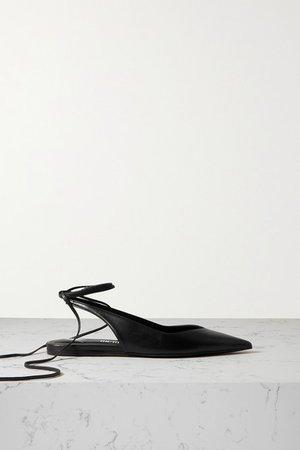 Venus Leather Point-toe Flats - Black