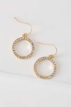 Chic Gold Rhinestone Earrings - Dangle Earrings - Circle Earrings