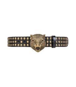 Gucci Black/Gold Studded Tiger Head Belt