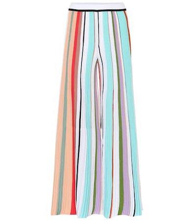 Striped crochet wide-leg pants