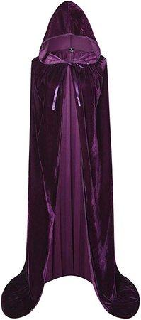 "Amazon.com: BIGXIAN Full Length Hooded Velvet Cloak Halloween Christmas Fancy Cape Costumes 59"" (Dark Green): Clothing"