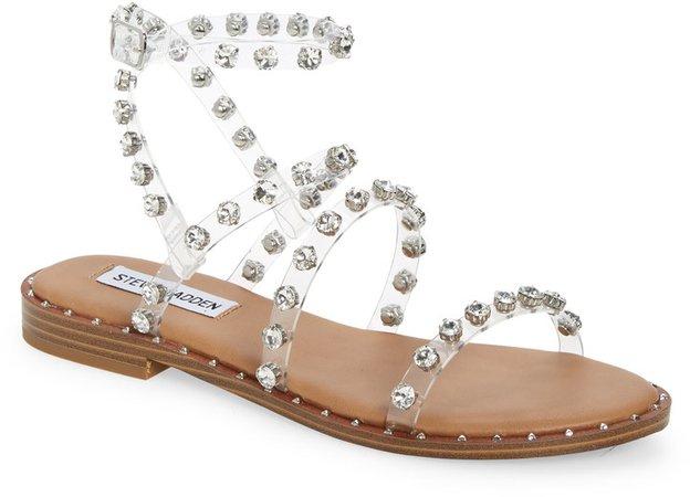 Travel Crystal Studded Strappy Sandal