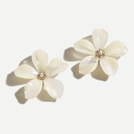 J.Crew: Acetate Flower Earrings With Pavé Detail
