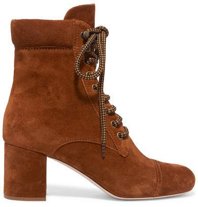 Suede Ankle Boots - Tan