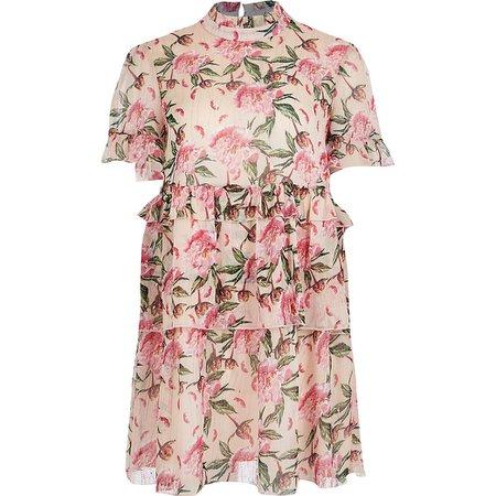 Pink floral print ruffle mini smock dress | River Island