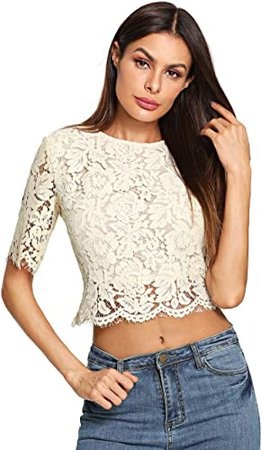 MakeMeChic Women's Short Sleeve Sexy Sheer Blouse Mesh Lace Crop Top at Amazon Women's Clothing store
