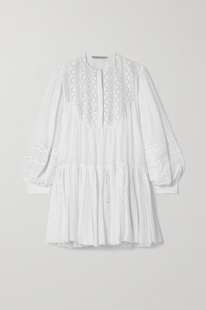 Crochet-trimmed Cotton And Silk-blend Voile Mini Dress - White