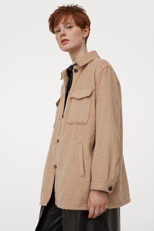 Oversized shirt jacket - Beige - Ladies | H&M GB