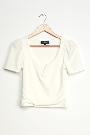 Ribbed White Tee - Puff Sleeve Top - Notched Short Sleeve Top