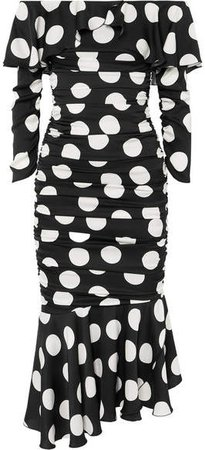 Ruched Polka-dot Stretch-silk Satin Midi Dress - Black