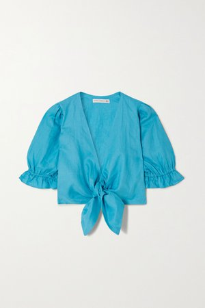 Azure + NET SUSTAIN Jamais cropped tie-detailed linen top | Faithfull The Brand | NET-A-PORTER