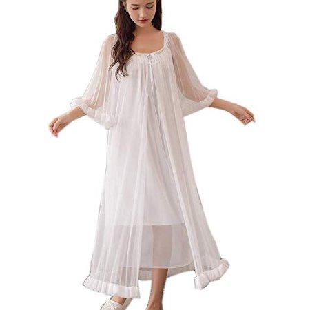 Womens Sexy Vintage Loungedress Nightgown 2 pcs Victorian Sleepwear Nightshirt Girls Pajamas (Light Blue) at Amazon Women's Clothing store: