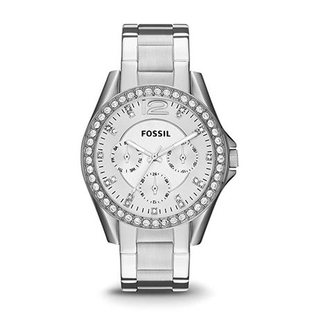 Amazon.com: Fossil Women's Riley Quartz Stainless Steel Chronograph Watch, Color: Silver (Model: ES3202): Fossil: Gateway