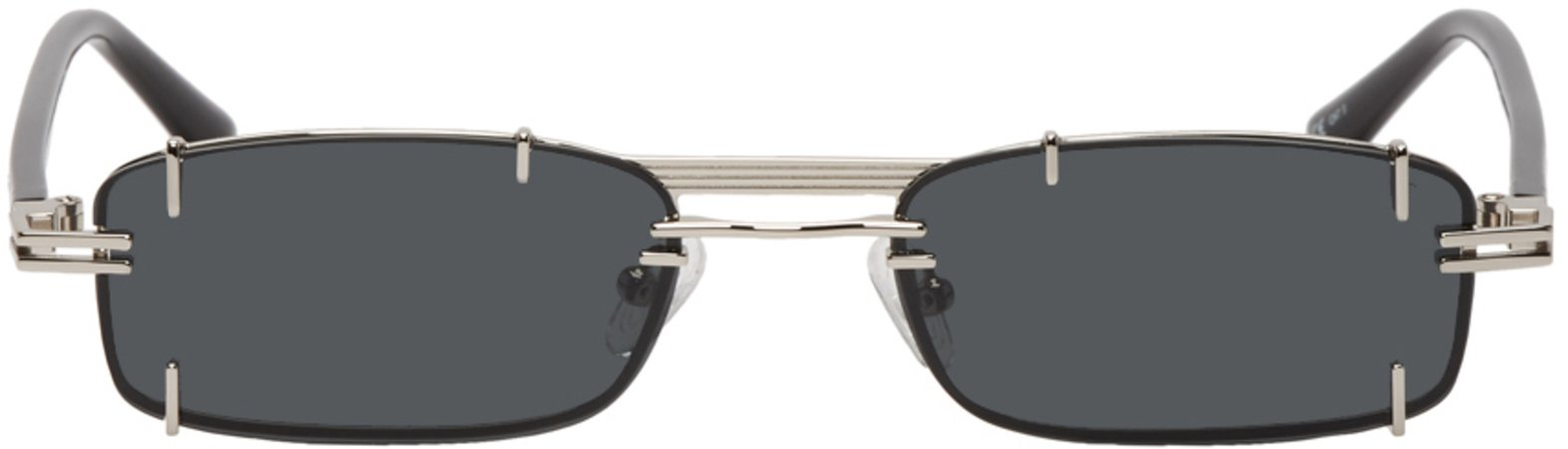 Y/Project: Silver & Black Linda Farrow Edition Neo Sunglasses   SSENSE