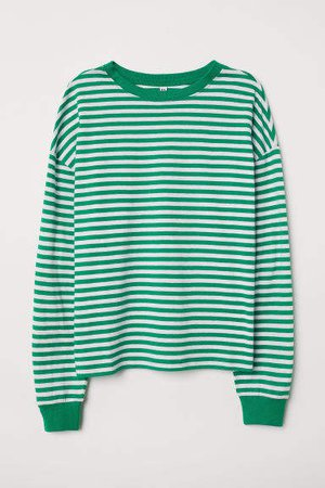 Striped Jersey Top - Green