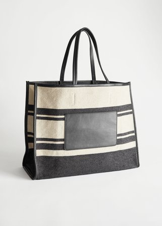 Striped Canvas Tote Bag - Black, Beige - Totes - & Other Stories