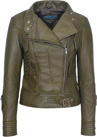 Supermodel Ladies Olive Green Biker Style Designer Real Italian Leather Jacket 4110 at Amazon Women's Coats Shop