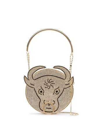 Shop gold Rosantica crystal-embellished bull mini bag with Express Delivery - Farfetch