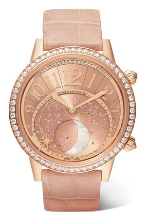 Jaeger-LeCoultre | Rendez-Vous Moon 36mm rose gold, alligator and diamond watch | NET-A-PORTER.COM