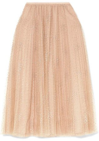 Fil Coupé Tulle Midi Skirt - Pink
