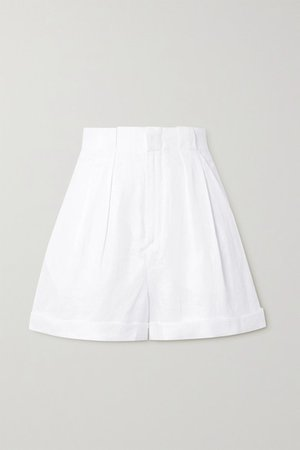 Boyde Pleated Linen Shorts - White