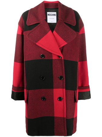 Moschino Checked double-breasted Coat - Farfetch