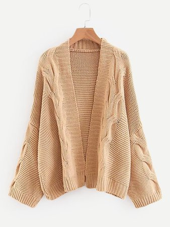 Cable Knit Solid Cardigan | SHEIN