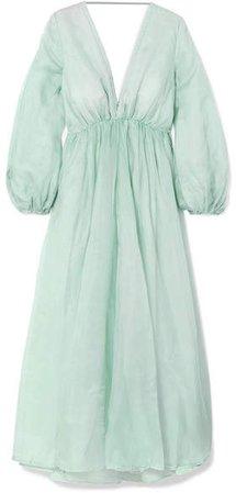 Kalita - Aphrodite Silk-organza Maxi Dress - Sky blue