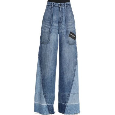 Dolce & Gabbana Women Patchwork Logo Wide Leg Denim Jeans ($1,070)