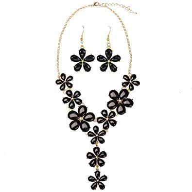 black jewelry flower sets - Google Search